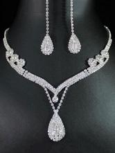 Conjunto de jóias de 2 peças em prata pingente de strass colar com brincos de gota