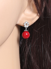 Pendiente Pendiente Rojo Rhinestones Ruby Dangling Alloy Chic Pendiente