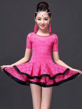 Latin Dance Costume Kid's Rose Lace Tiered Performance Dress Outfit