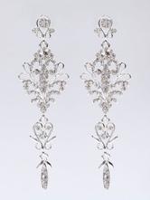 Brincos de casamento de prata Rhinestones Brincos de noiva perfurados