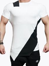Comfy Short Sleeves Crewneck Color Block Cotton T-Shirt For Man