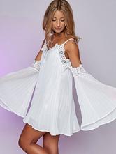 ... Vestito bianco a scollo chiffon in chiusura senza maniche in chiusura a maniche  lunghe smontabile- ... f39dd921274