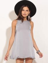 Grey Mini Dress Silk Like Sleeveless Women's Summer Short Swing Dresses