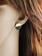 Серьги с черным узором Женская круглая форма с пирсингом