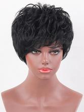 Pelucas de cabello humano Pixies & Boycuts estilo moderno 8 inches negras