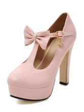 Высокий каблук насосы женский лук декольте T ремешок стразы розовый платформы коренастый пятки обувь