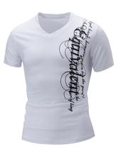 T-shirt per gli uomini cotone casual lettere abbigliamento giornaliero maniche corte con scollo a V