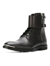 Black Martin Boots Cowhide Metallic Buckled Round Toe Zipper Men's High Top Boots