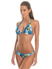 Bikini estilo de playa Estampado en 3D con escote halter sin mangas de poliéster azul