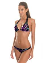 Attraktiver Bikini aus mit 3D Print in Schwarz 2 Stk Set Polyester für Beach Strand mit Bikini