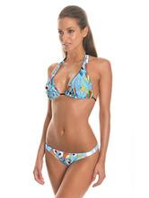 Blue Bathing Suits Halter Printed Bikini Set Women's 2 Piece Swimsuit