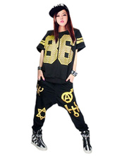 Magnifique costume de danse hip-hop en polyester Noir Impression vêtements journaliers hip hop Pantalons En fibre polyester  Déguisements Halloween