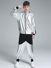 Hip Hop Clothing Dance Costume Silver Hooded Top With Pants