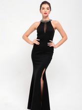 Black Maxi Dress Women's Rhinestones Beading Sleeveless Slit Long Dress For Women