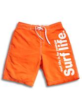 Board Swim Shorts Orange Men's Letters Printed Summer Beach Swim Trunks