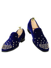 Men Blue Loafers Round Toe Terry Rivets Slip On Spike Shoes Dress Shoes