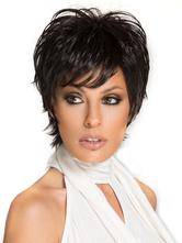 Parrucca capelli veri stratificata corti & fanciulleschi nera da 8 pollici donna festa&da uscita serale