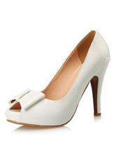 Peep Toe Pumps Women's Bow Decor Slip On Stiletto Platform High Heel Shoes