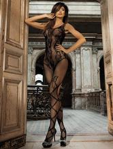 Black Sexy Bodystocking Women's Jacquard Stretch Sheer Lingerie