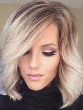 Magnifique perruque de cheveux humains abricot claire frisée dégradé mode