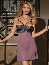 Sexy Gown Set Lace Patch Open Bust Strappy Semi Sheer Purple Gown With T Back