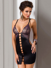 Black Sexy Chemises Strappy Sleeveless Backless Cut Out Lingerie In 2 Piece Dress