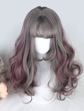Taupe Lolita Wigs Harajuku Highlights Long Curly Blunt Bangs Synthetic Hair Wigs