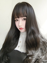 Black Lolita Wigs Harajuku Long Curly Blunt Bangs Synthetic Hair Wigs