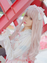 Pink Lolita Wigs Long Curly Blunt Bangs Kawaii Synthetic Hair Wigs