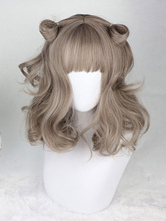 Gothic Lolita Wigs Harajuku Flaxen Long Curly Synthetic Hair Wigs