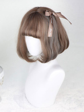 Gothic Lolita Wigs Harajuku Short Straight Deep Brown Synthetic Hair Wigs With Bangs