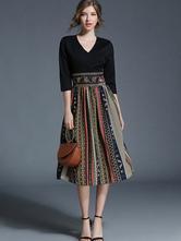 Black Skater Dress V Neck Half Sleeve Printed Slim Fit Flare Dress For Women