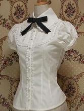 Klassische Lolita Bluse Baumwolle Bowknot Rüschen Weiß Lolita  mit kurzen Ärmeln in Weiß