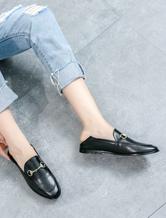 Zapatos Mocasín de puntera redonda slip-on Planos Color liso Detalles metálicospara pasar por la noche estilo informal para mujer 9RGy4
