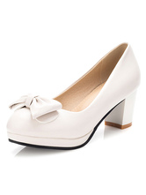 Women's White Pumps Mid Heel Round Toe Bow Slip On Pump Shoes