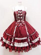 Rococo Lolita Dress JSK Lace Trim Ruffles Pleated Bow Lolita Jumper Skirt