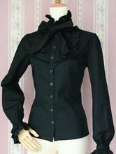 Blusa de Lolita com gola alta com laço com mangas compridas de 100% algodão cor sólida top tops