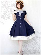 Sweet Lolita Dress Sailor OP Cotton Bow Buttons Dark Navy Lolita One Piece Dress