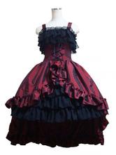 Gothic Lolita Dress JSK Taffeta Layered Ruffles Pleated Lolita Jumper Skirt