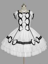 Rococo Lolita Dress OP White Short Sleeve Cotton Lolita One Piece Dress