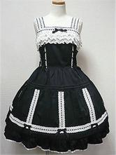 Rococo Lolita Dress JSK Black Sleeveless Cotton Lolita Jumper Skirt