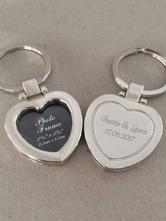 Personalized Key Ring Silver Heart Shape Wedding Favors ( 4 Pcs A Set )