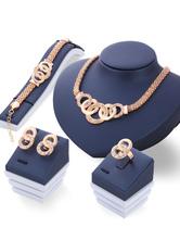 4 Pieces Necklace Set Punk Style Grommets Luxurious Golden Jewelry Set