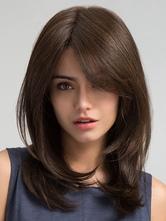 Peluca sintética 2020 de pelo de las mujeres pelucas sintéticas rizadas largas de la partida lateral marrón
