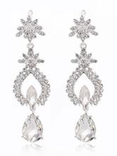 Silver Wedding Earrings Rhinestones Beading Bridal Drop Earrings