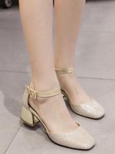 Zapatos de tacón medio de puntera cuadrada de tacón gordo estilo modernopara pasar por la noche de tela brillante seJbVkgM1