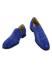 Men Blue Loafers 2019 Prom Shoes Glitter Round Toe Slip Ons Dress Shoes