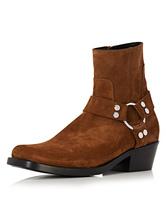 Homens botas para homem para street wear cor sólida com Cano de 14-16cm Couro Artificial Botas chique & moderna Browm