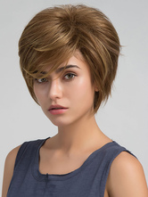 Women's Hair Wigs Deep Brown Layered Short Synthetic Wigs With