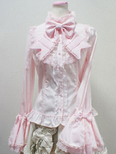 Rococo Lolita Blouse Cotton Lace Trim Flare Sleeve Bowknot Ruffles Ecru White Lolita Top
